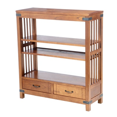 Arhaus Arts & Crafts Style Oak Shelving Unit, 21st Century