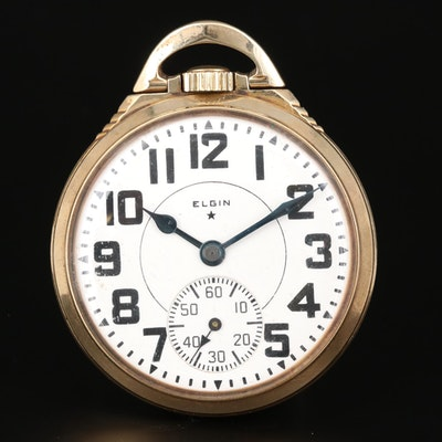 Elgin B.W. Raymond Railroad Grade 10K Gold Filled Pocket Watch, 1938