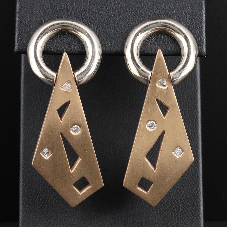 14K Yellow and White Gold Diamond Dangle Earrings