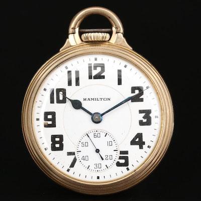 Vintage Hamilton Railroad Grade 10K Gold Filled Pocket Watch, 1941