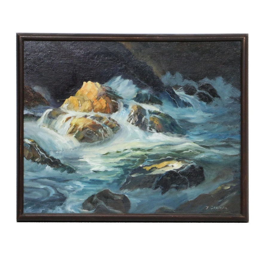 Seascape Oil Painting, Mid-20th Century
