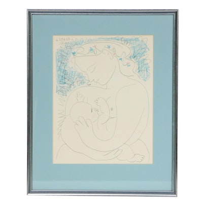 """Lithograph After Pablo Picasso """"Mother and Child"""""""