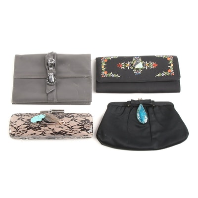 Pam McMahon Original Evening Clutches with Gemstone Accents Including Signed