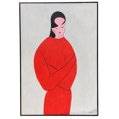 Dellard Cassity Jr. Female Portrait Oil Painting, Mid to Late 20th Century