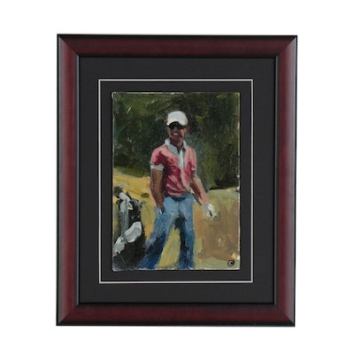 Martin Azari Oil Painting of a Golfer
