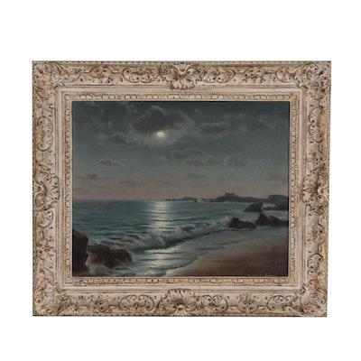 Roger De la Corbière Seascape Oil Painting, circa 1958