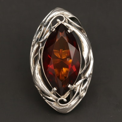 Sterling Silver Statement Ring with Foliate Motif