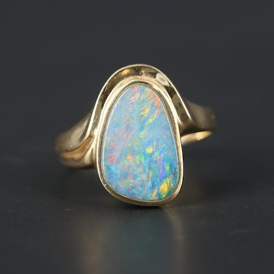 14K Yellow Gold Opal Doublet Ring
