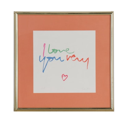 "Sister Mary Corita Kent Serigraph ""I Love You Very"""
