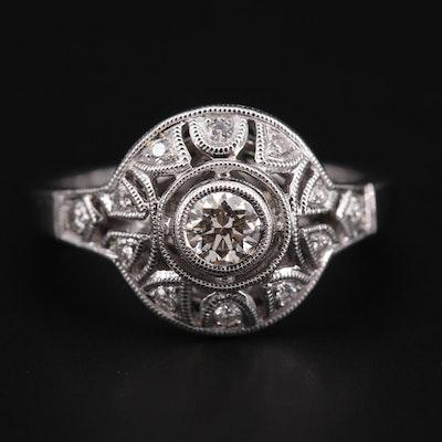 Vintage Style 14K White Gold Diamond Ring