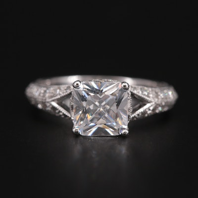 Platinum Diamond Semi-Mount Ring with Cubic Zirconia Center