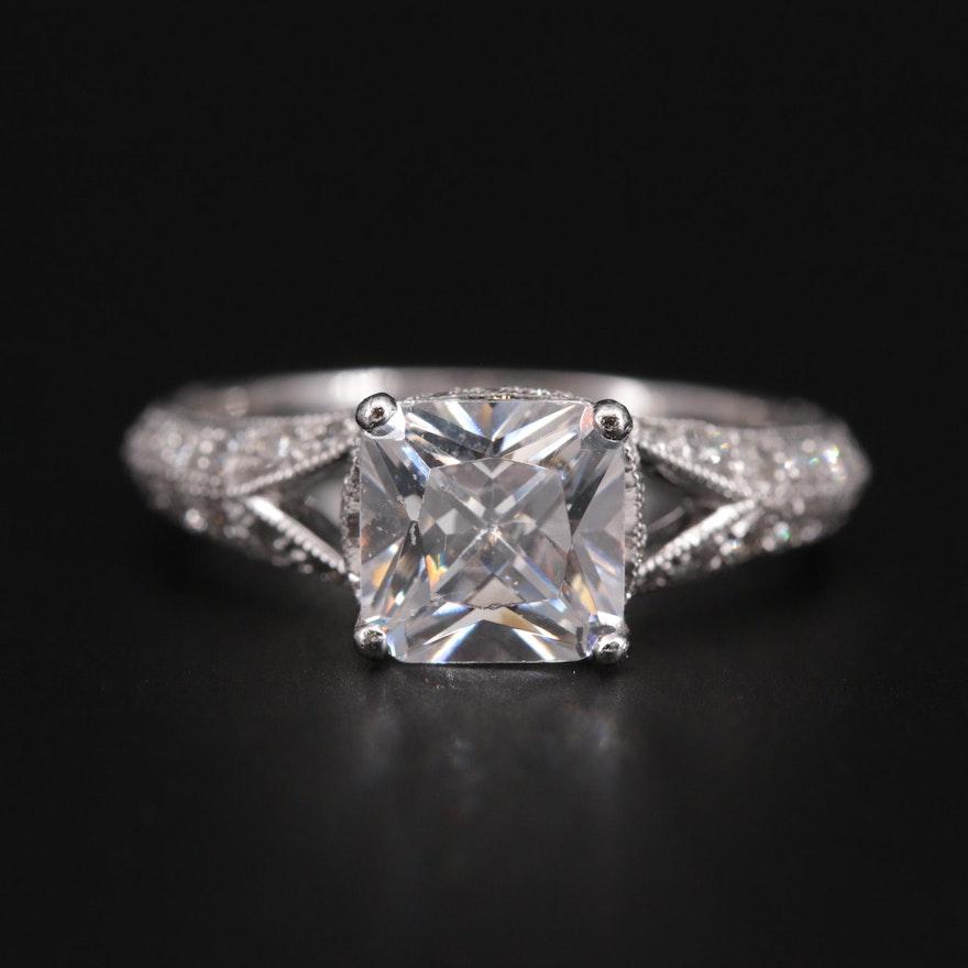 Platinum Diamond Semi-Mount Ring with Cubic Zirconia Center