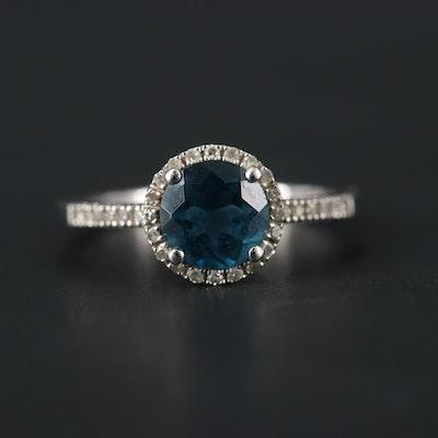 14K White Gold Topaz and Diamond Ring