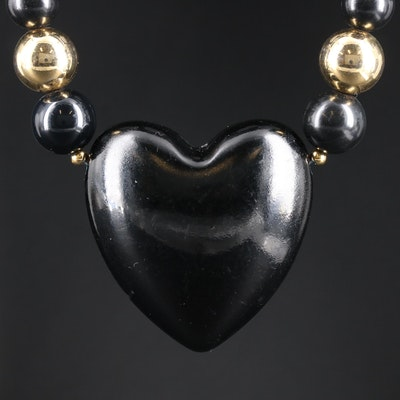 Vintage Black Onyx Heart Beaded Necklace