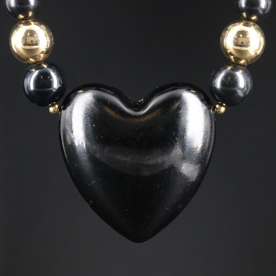 Vintage Black Onyx Heart Beaded Necklace