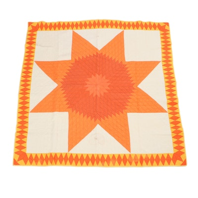 Handcrafted Lone Star Pattern Quilt with Diamond Border