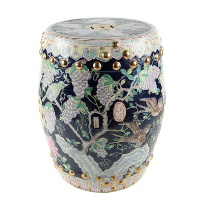Chinese Style Hand-Painted Ceramic Garden Stool with Wisteria and Birds Motif