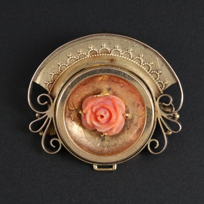 Victorian 14K Yellow Gold Coral Converter Brooch