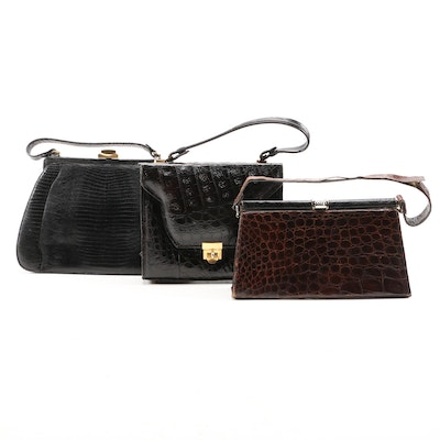 Caiman and Reptile Top Handle Bags Including ETCO and Palizzio