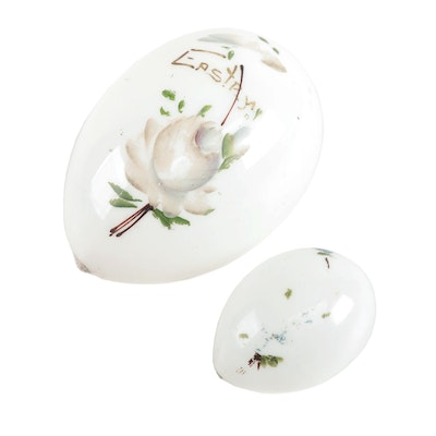 Hand-Painted Blown Milk Glass Easter Eggs, Early 20th Century