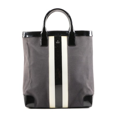 Gucci Canvas and Patent Leather Tote Bag with Black and White Stripe