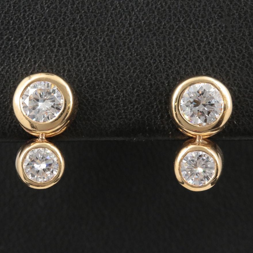 14K Yellow Gold 2.07 CTW Diamond Earrings