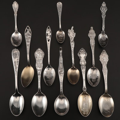 Sterling Silver Souvenir Spoons Featuring American Cities and States