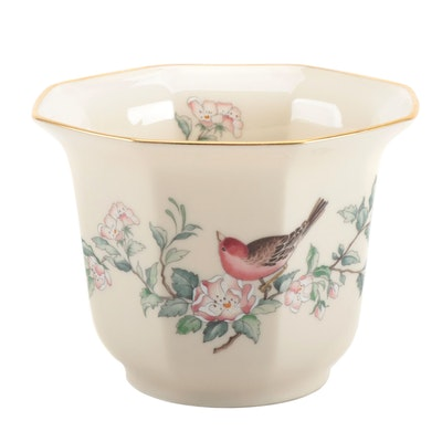 "Lenox ""Serenade"" Bone China Cache Pot with 24K Gold Accents"
