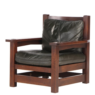 "Stickley, Arts and Crafts Style Oak and Dark Green Leather ""Eastwood"" Armchair"