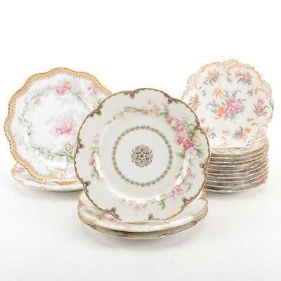 Haviland Porcelain Luncheon Plates with Franziska Hirsch Porcelain Salad Plates