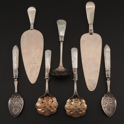 Mother of Pearl Handled Serving Utensils, Berry Spoons, and More, Antique