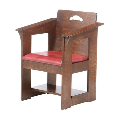 "Stickley, Arts and Crafts Style Oak and Scarlet Leather ""Limbert"" Cafe Armchair"