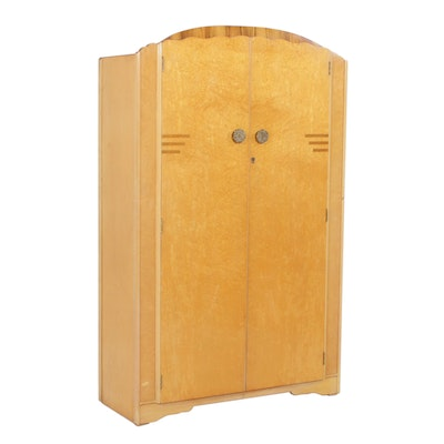 Art Deco Bird's-Eye Maple Wardrobe, Early 20th Century