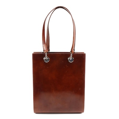 Panthère de Cartier Saddle Brown Glazed Leather Shoulder Bag