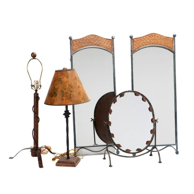 Table Lamps, Wall Mirrors with Wicker Accents, and a Tabletop Mirror