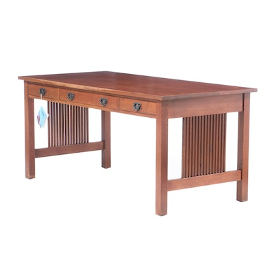 Stickley, Arts and Crafts Style Oak Three-Drawer Library Table