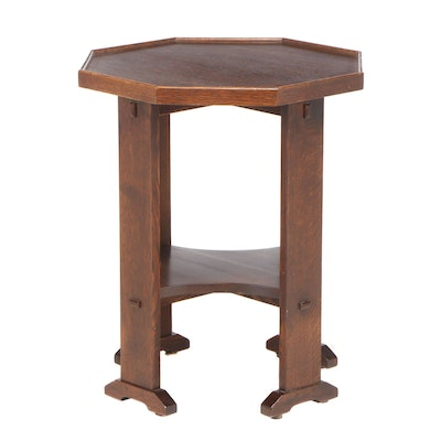 Stickley, Arts and Crafts Style Oak Octagonal Side Table