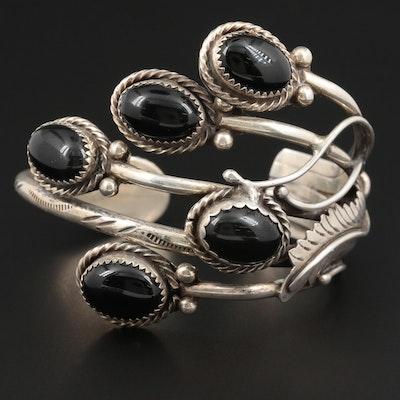 Fannie Platero Navajo Dinè Sterling Silver Black Onyx Cuff Bracelet
