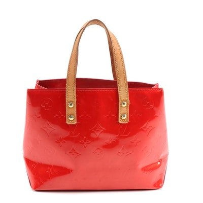 Louis Vuitton Columbus Tote PM in Red Monogram Vernis and Vachetta Leather