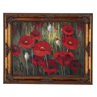 C. Lewis Floral Oil Painting of Poppies