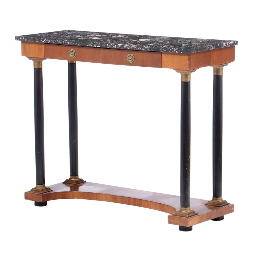 Neoclassical Style Marble Top Console Table, Late 20th Century