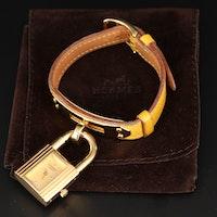 Hermes Kelly Gold Tone Quartz Wristwatch