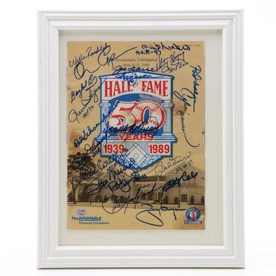 Framed 1989 Baseball Hall of Fame Signed Program Cover  COA