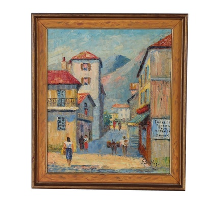 Frede Salling Oil Painting of Village Street Scene, 20th Century
