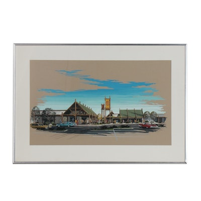 Gouache Architectural Rendering of Shopping Plaza
