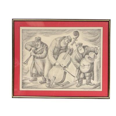 """Chaim Goldberg Lithograph """"Trio"""""""