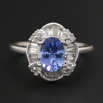 14K White Gold Tanzanite and Diamond Ring
