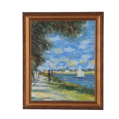 Impressionist Style Oil Painting of Coastal Scene