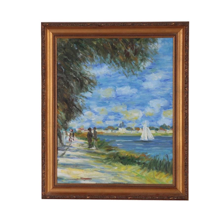 Impressionist Style Oil Painting of Coastal Scene