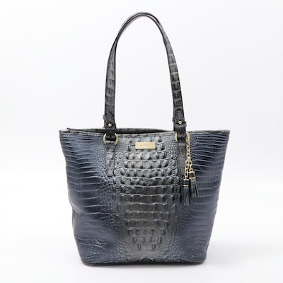 Brahmin Hornback Croc Embossed Leather Tote Bag with Tassels in Blue and Pewter